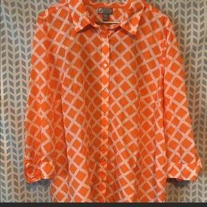 🍁JCP 3X orange  pattern silk blend shirt 1005